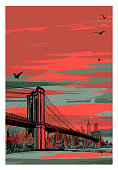 Historic Brooklyn Bridge and lower Manhattan - vector illustration (Ideal for printing on fabric or paper, poster or wallpaper, house decoration)