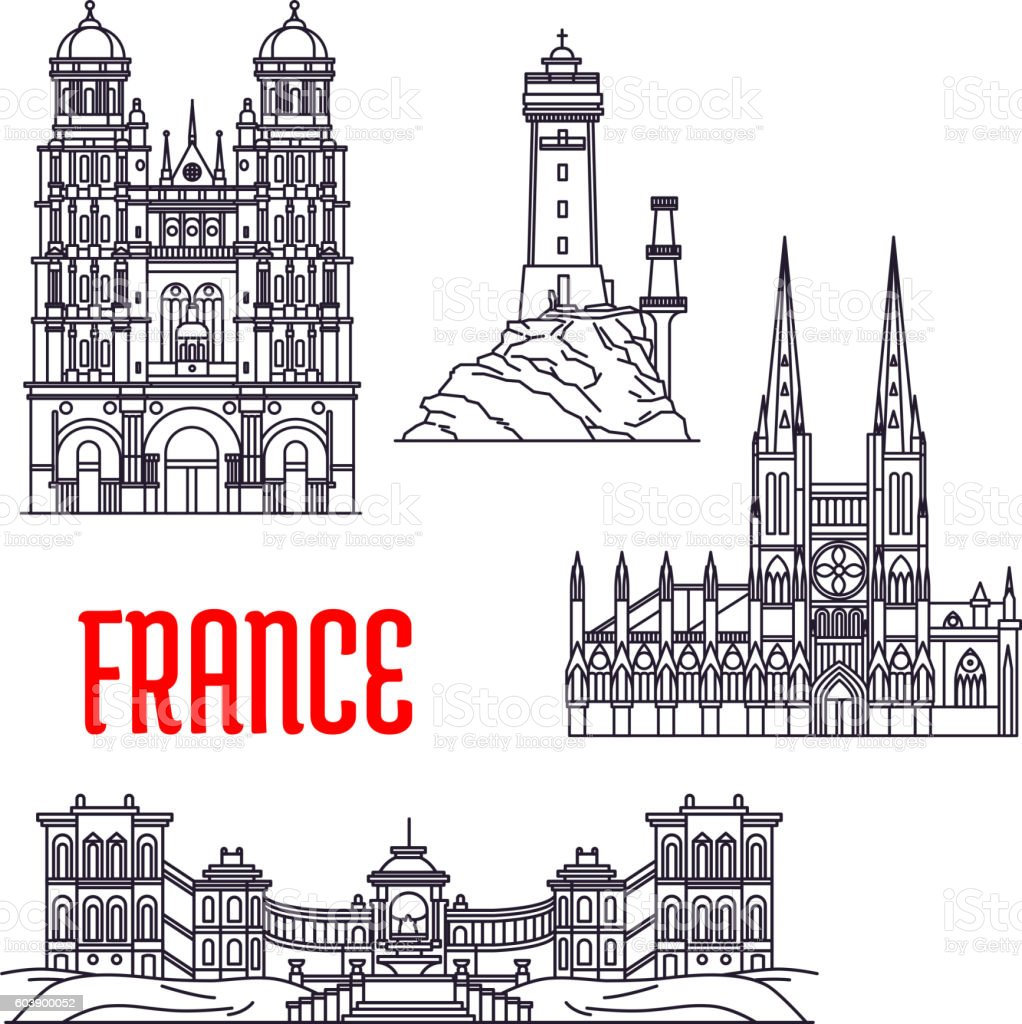 Historic buildings and sightseeings of France - Illustration vectorielle