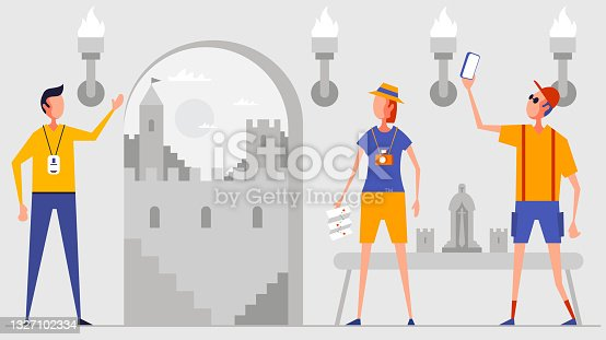 istock Historic castle and tourists 1327102334