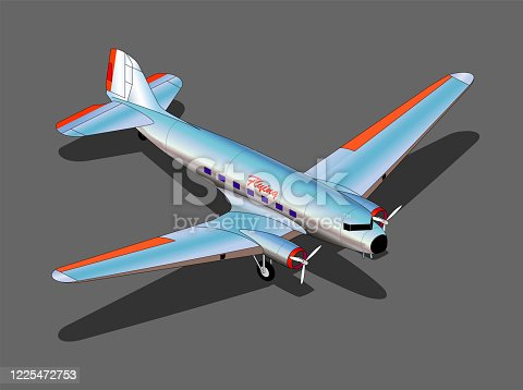 26.6° isometric dc-3 airplane from 1930s/ 1940s