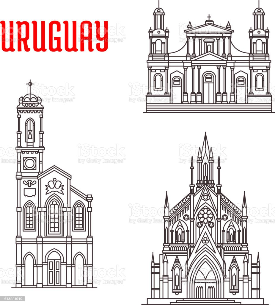 Historic famous architectural buildings of Uruguay vector art illustration