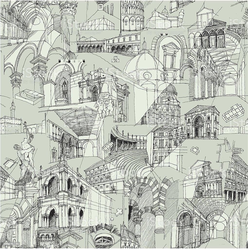 Historic Italian Architecture Collage seamless pattern vector art illustration