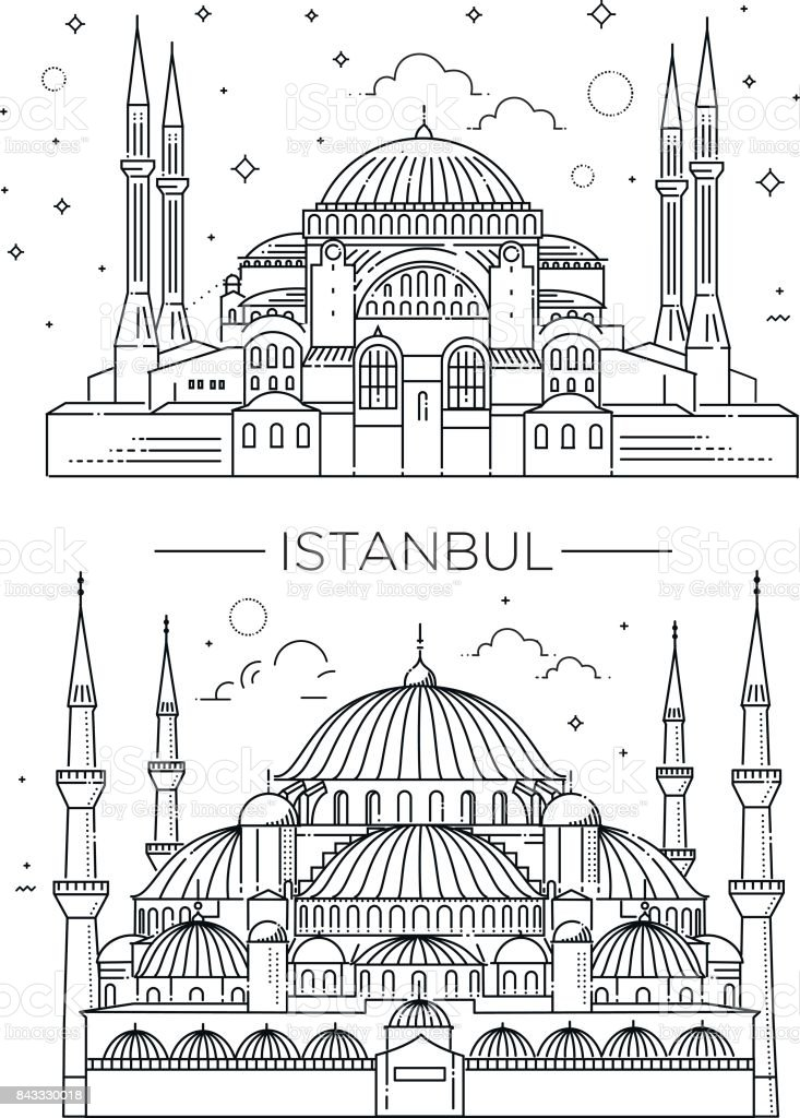 Historic landmarks, sightseeings, famous showplaces of Turkey. vector art illustration