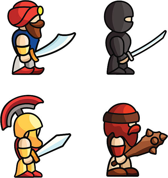 Historical battle characters Set of warriors. Perfect for game animations. Each character consist of head, body, two arms and two legs. Check my portfolio for more game graphics! mount combatant stock illustrations