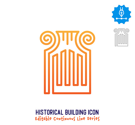 Historical Building Continuous Line Editable Icon