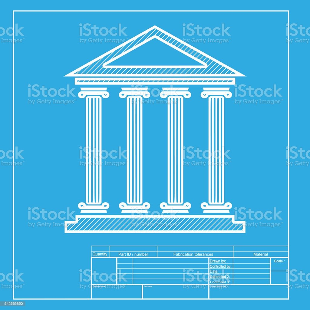 Historical building illustration white section of icon on blueprint white section of icon on blueprint template royalty free historical malvernweather Images