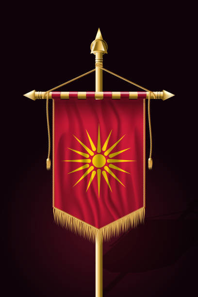 historical flag of republic of macedonia. festive vertical banner. wall hangings with gold tassel fringing - macedonia country stock illustrations, clip art, cartoons, & icons