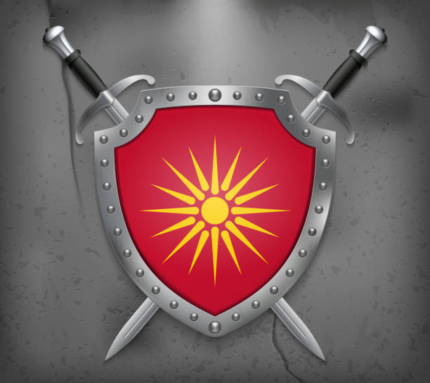 historical flag of republic of macedonia. the shield with national flag. two crossed swords. vector medieval background - macedonia country stock illustrations, clip art, cartoons, & icons