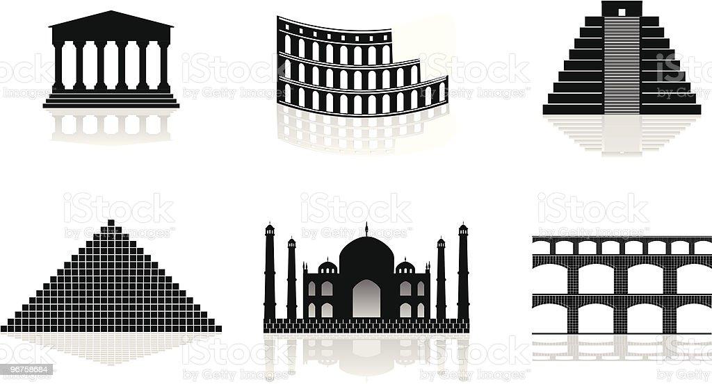 historical monuments vector illustrations vector art illustration