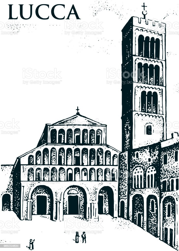 Historical old building. Facade in Lucca. Gothic Baroque style. Ancient Architecture of street in Tuscany Italy. European city on white background. Vector illustration. Hand drawn engraved sketch historical old building facade in lucca gothic baroque style ancient architecture of street in tuscany italy european city on white background vector illustration hand drawn engraved sketch - stockowe grafiki wektorowe i więcej obrazów bez ludzi royalty-free