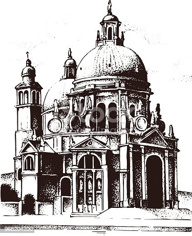 Historical Old Building Facade In Venice Gothic Baroque Style Ancient Architecture Of Street In Italy European City On White Background Vector Illustration Hand Drawn Engraved Sketch Stock Vector Art & More Images of Architecture 965204200