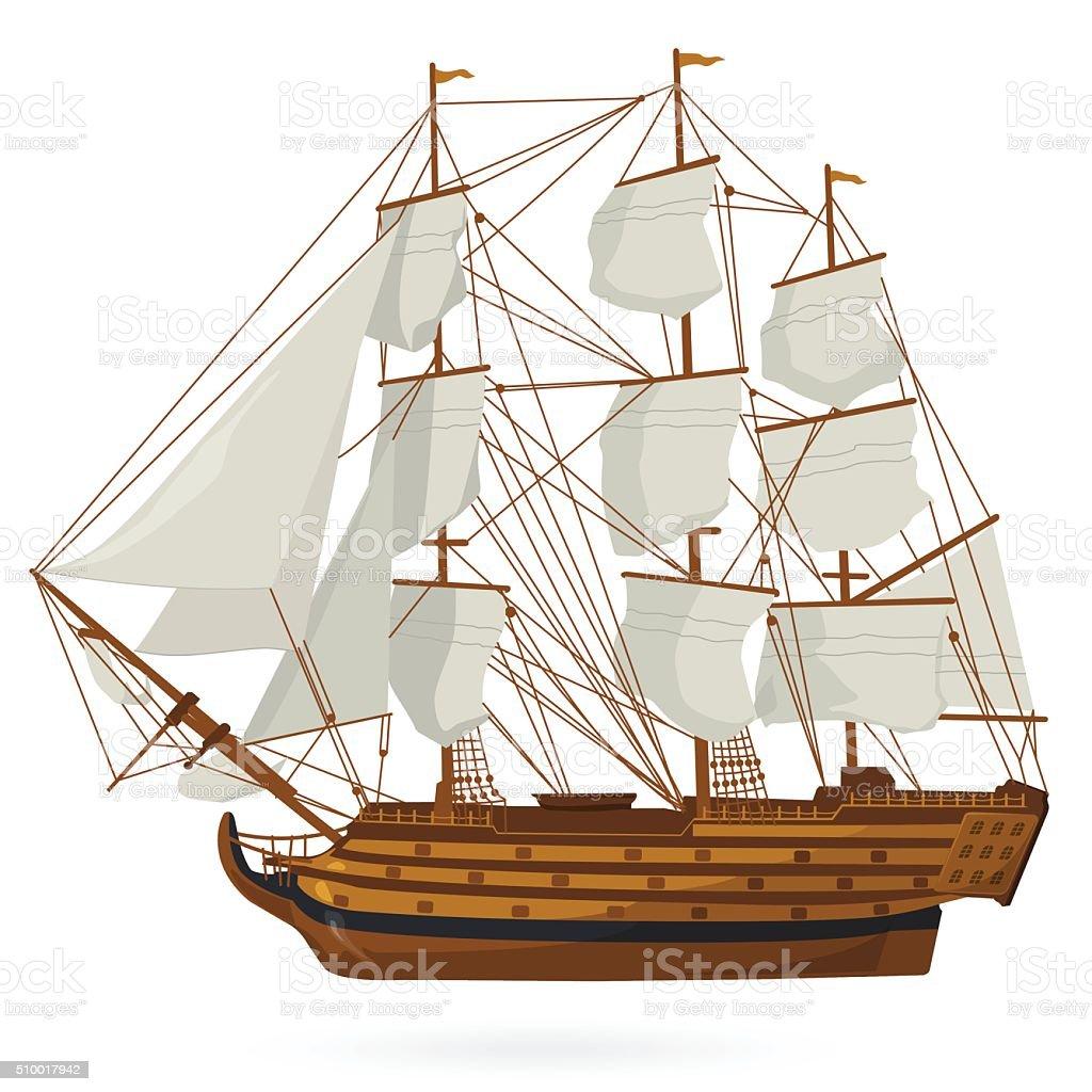 Historical sailing boat on white. Training corvette galleon sailors ship.