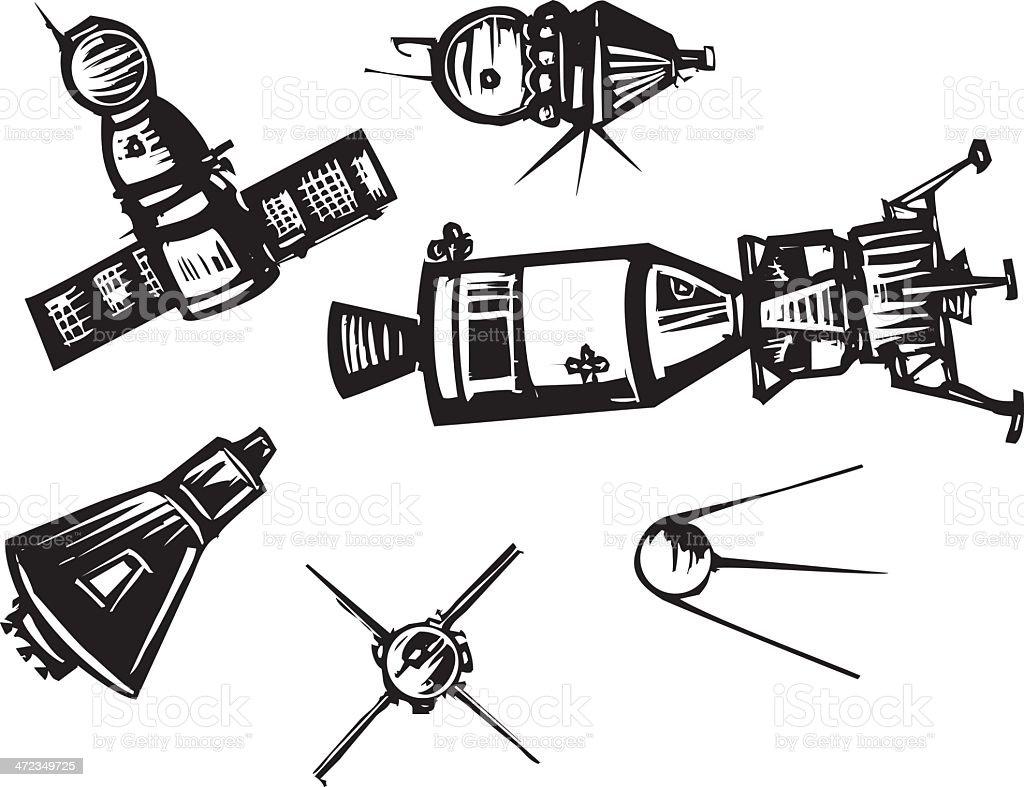 Historical Spaceships vector art illustration