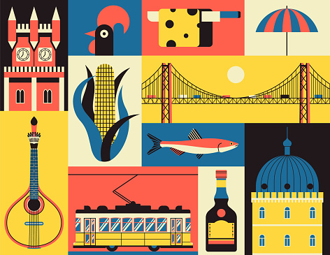 Historical symbols of Lisbon, Portugal. Vector icon set in flat style. Portuguese landmark. Guitar, corn, fish, castle, yellow tram, rooster, cheese, beach, liquor, bridge.