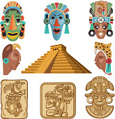 Historical symbols of mayan culture. Religion idols