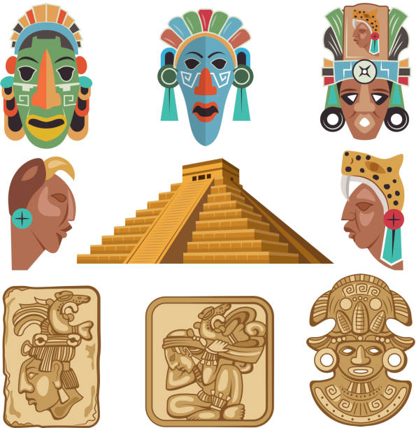 Historical symbols of mayan culture. Religion idols Historical symbols of mayan culture. Religion idols. Mask tribal, mythology mexican, souvenir traditional, vector illustration ancient civilization stock illustrations