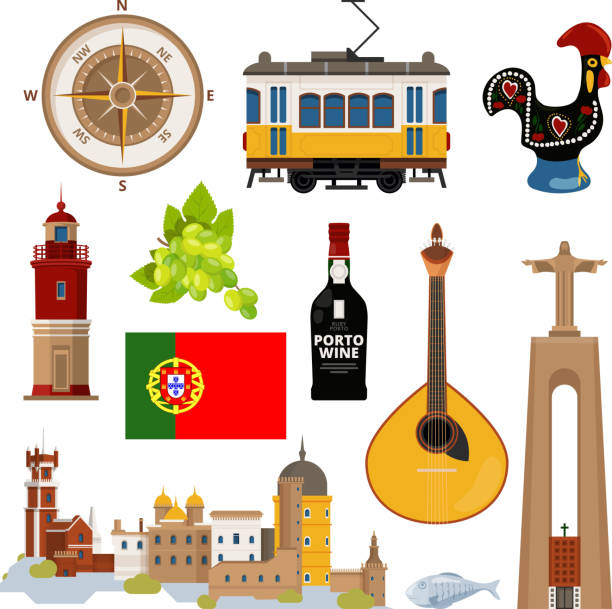 historical symbols of portugal lissabon. vector icon set in flat style - portugalia stock illustrations