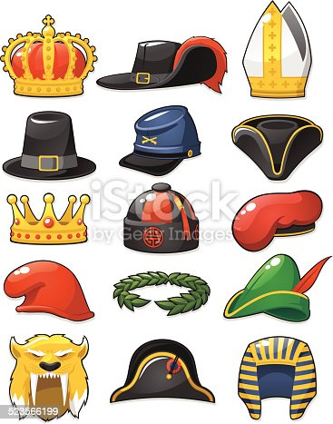 Set of different hats from all ages and time periods.