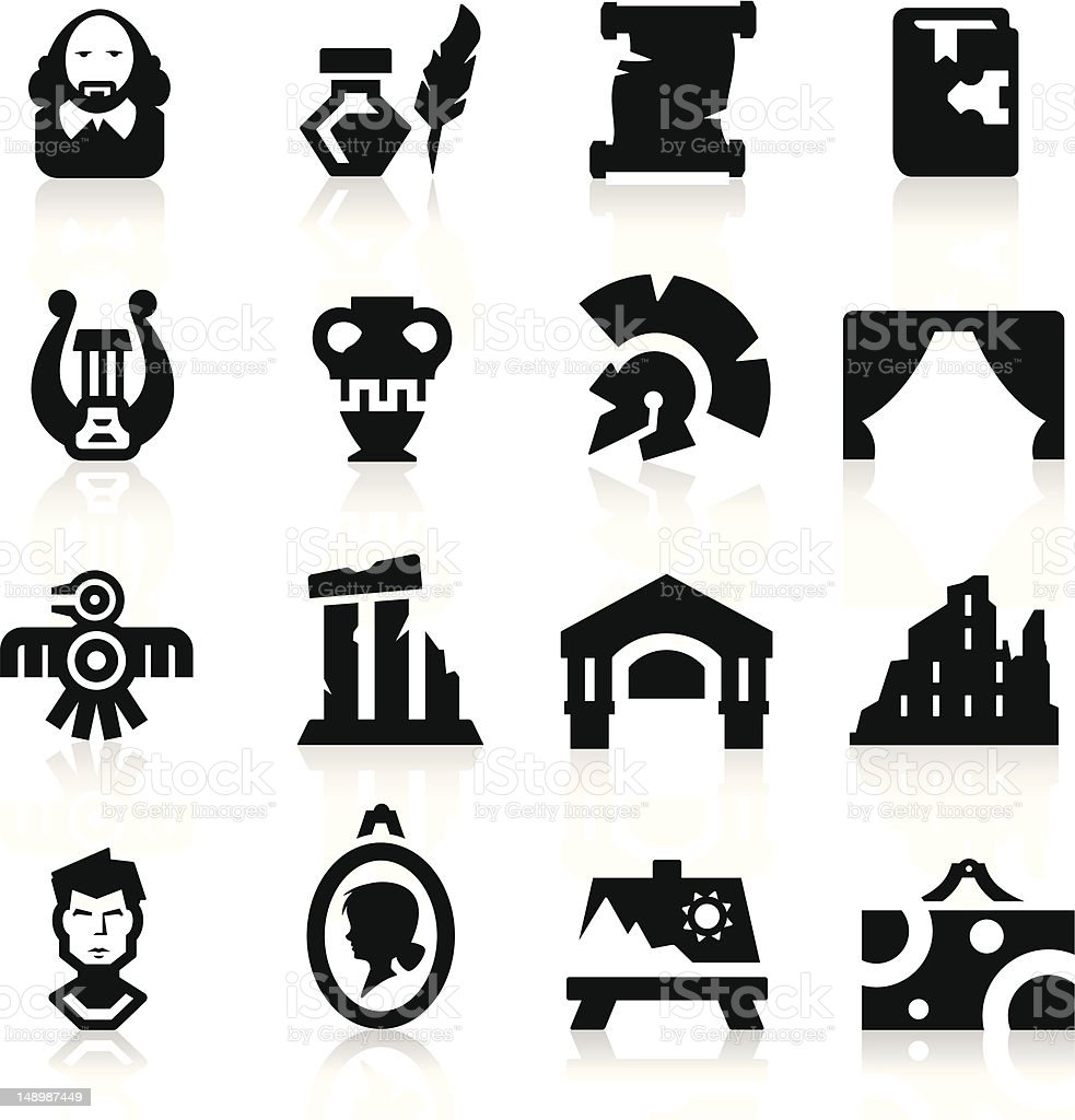 History and culture icons vector art illustration