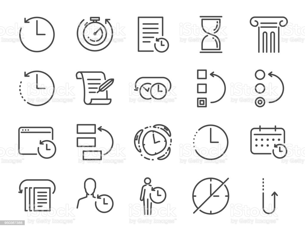 History and time management icon set. Included the icons as Anti-Aging, revert, time, reverse, u-turn, time machine, waiting, reschedule and more vector art illustration