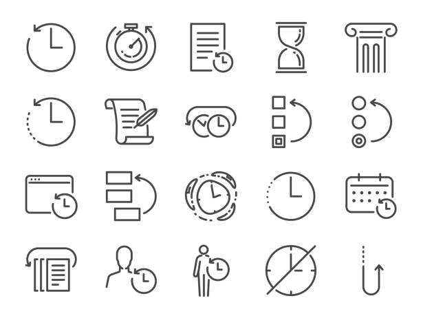 History and time management icon set. Included the icons as Anti-Aging, revert, time, reverse, u-turn, time machine, waiting, reschedule and more History and time management icon set. Included the icons as Anti-Aging, revert, time, reverse, u-turn, time machine, waiting, reschedule and more beat the clock stock illustrations