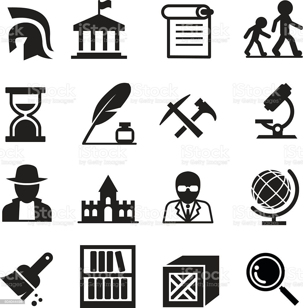History & archaeology icons vector art illustration