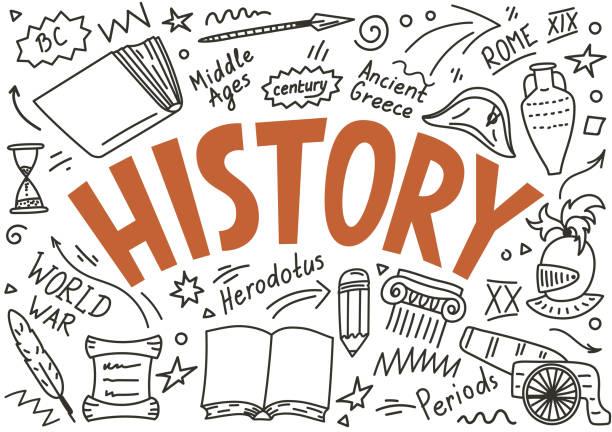 stockillustraties, clipart, cartoons en iconen met geschiedenis doodles met belettering - geschiedenis
