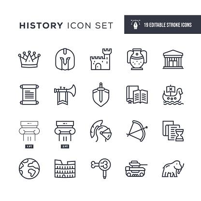 History Editable Stroke Line Icons