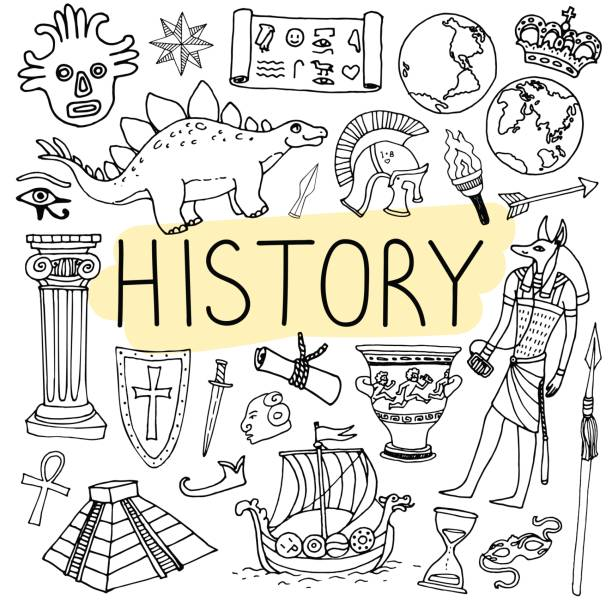 History hand drawn doodles. Vector back to school illustration. History hand drawn doodles. Vector back to school illustration on white background. ancient egyptian culture stock illustrations