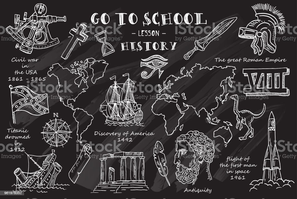 history hand sketches on the theme of history chalkboard vector