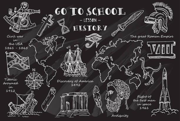 stockillustraties, clipart, cartoons en iconen met geschiedenis. hand schetsen op het thema van geschiedenis. schoolbord. vectorillustratie. - geschiedenis