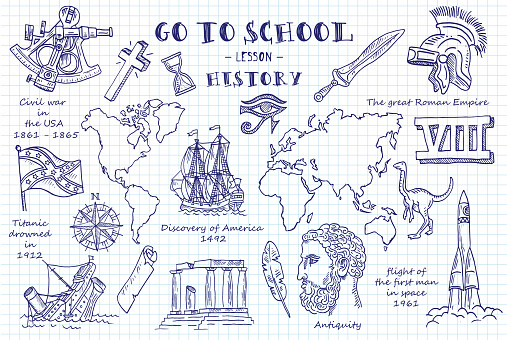 History. Hand sketches on the theme of History. Note book page paper. Vector illustration.History. Hand sketches on the theme of History. Note book page paper. Vector illustration.