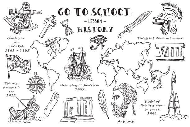stockillustraties, clipart, cartoons en iconen met geschiedenis. hand schetsen op het thema van geschiedenis. vectorillustratie. - geschiedenis