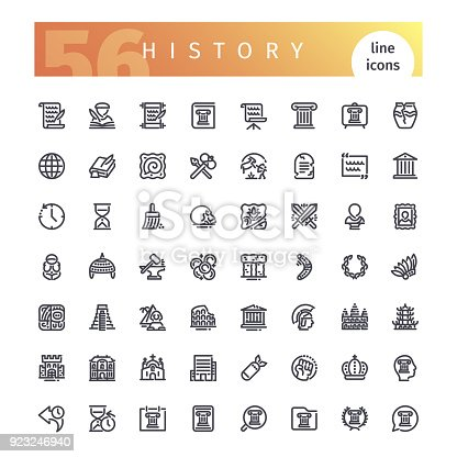 Set of 56 history line icons suitable for web, infographics and apps. Isolated on white background. Clipping paths included.