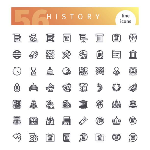 stockillustraties, clipart, cartoons en iconen met geschiedenis lijn icons set - geschiedenis