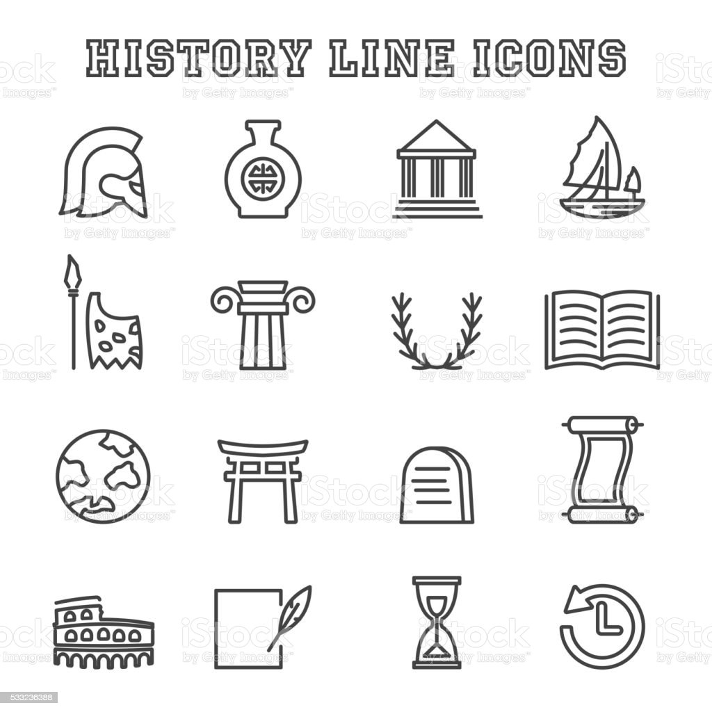 history line icons vector art illustration