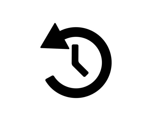 stockillustraties, clipart, cartoons en iconen met geschiedenis lijst knop pictogram ontwerp instellen illustratie, glyph stijl ontwerp - herhaling begrippen