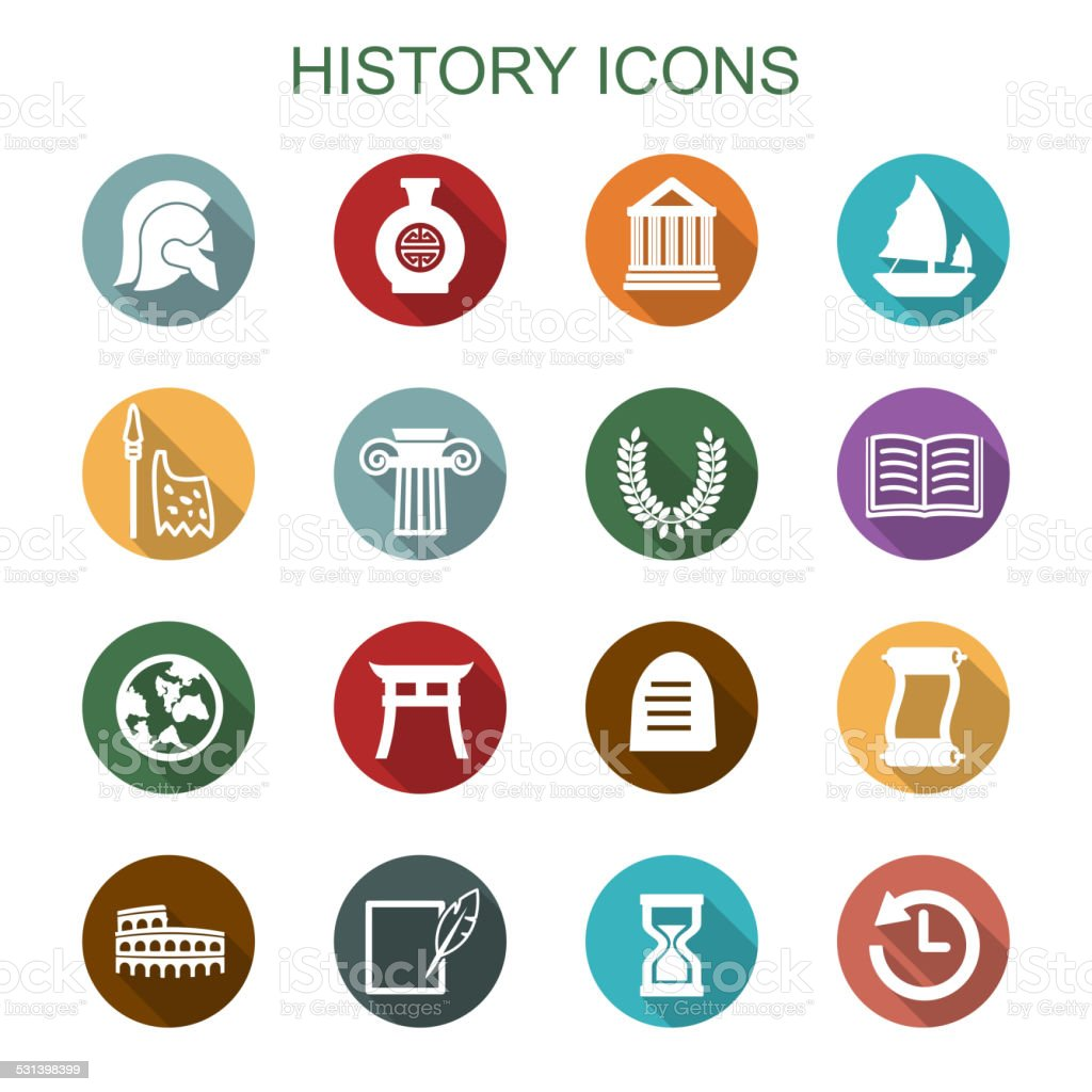 history long shadow icons vector art illustration