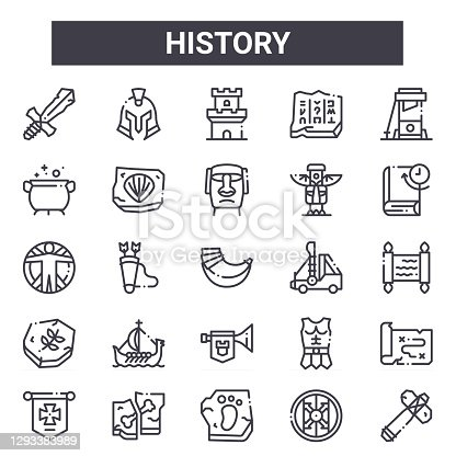 history outline icon set. includes thin line icons such as sword, cauldron, catapult, armour, shield, tower, hammer, moai. can be used for report, presentation, diagram, web and mobile design