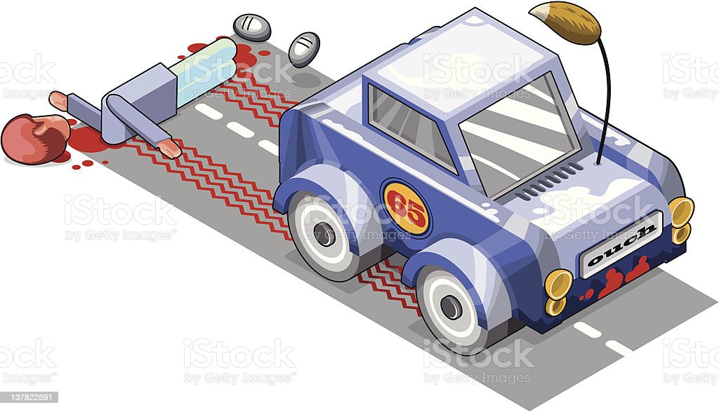 Hit and run fatal car crash vector art illustration