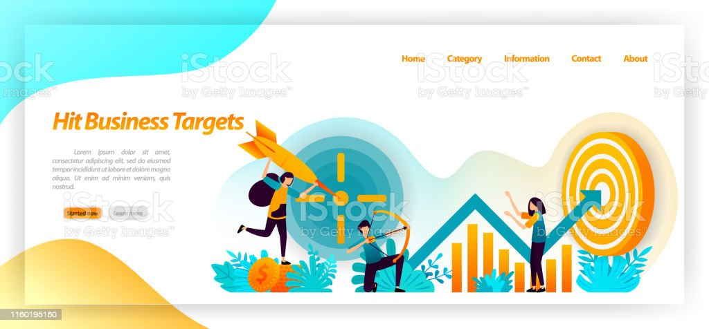 hit business target. archery achievement goals with strategy and...