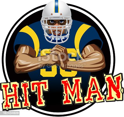 A football player with white helmet and blue jersey, with a mean look on his face, slamming his fist into the palm of his other hand. It could be used for a sticker or decal on a helmet.