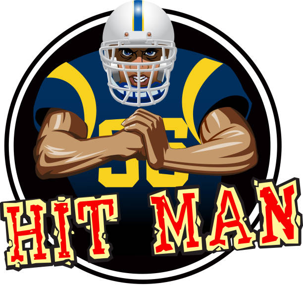 Hit Man A football player with white helmet and blue jersey, with a mean look on his face, slamming his fist into the palm of his other hand. It could be used for a sticker or decal on a helmet. football lineman stock illustrations