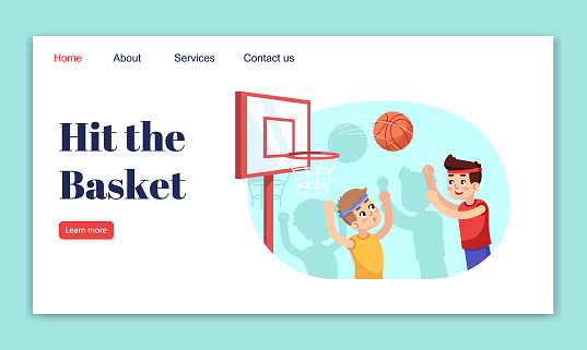 Hit the basket landing page vector template. Sports section for children website interface idea with flat illustrations. Basketball kids contest homepage layout. Web banner, webpage cartoon concept