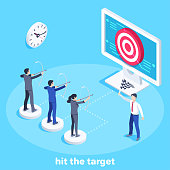 isometric vector image on a blue background, people in business suits shoot a target on a computer screen, team work to achieve a common goal