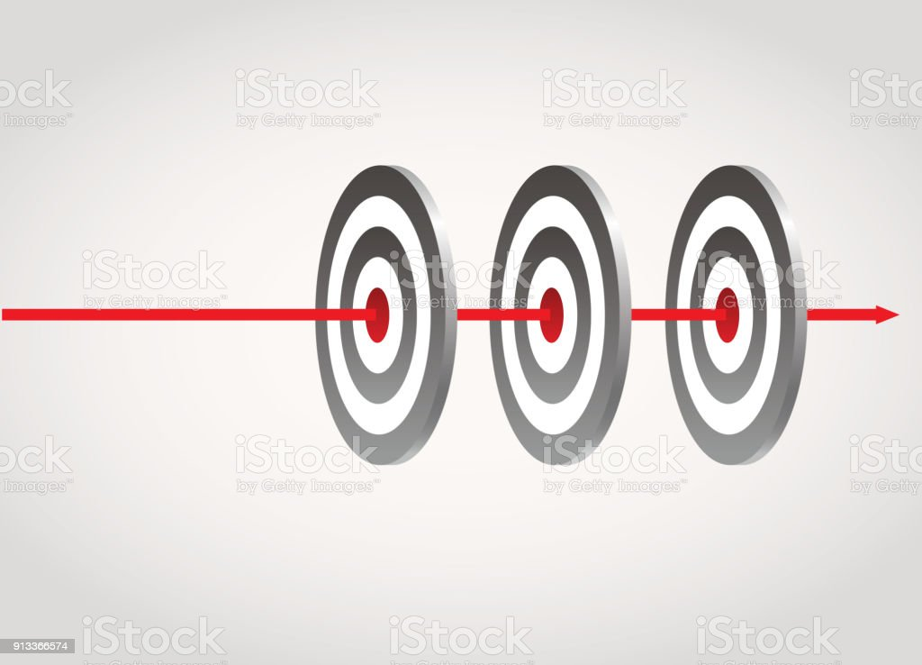Hit Three targets vector art illustration