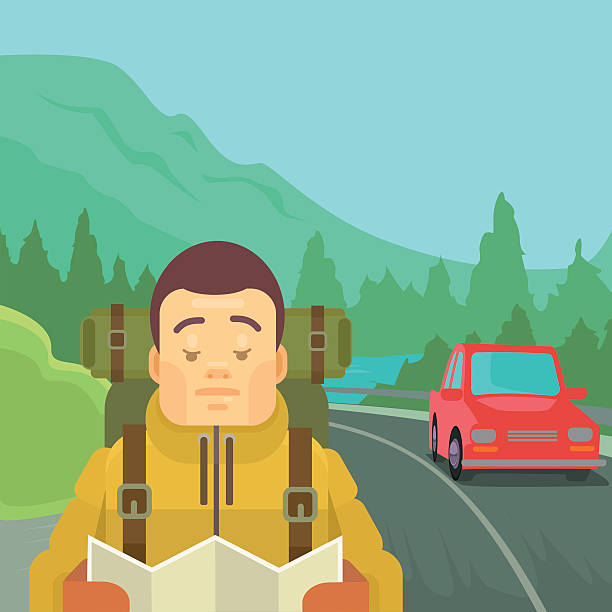 Hitchhiking tourism concept vector art illustration