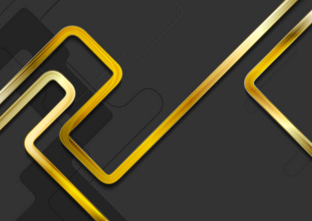 Hi-tech abstract background with golden stripes vector art illustration