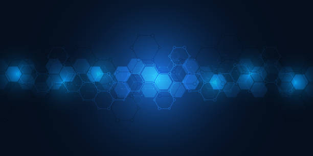 Hi-tech background with hexagons pattern. Science and technology concept Science and technology background with hexagons pattern. Hi-tech background of molecular structures and chemical engineering hexagon stock illustrations