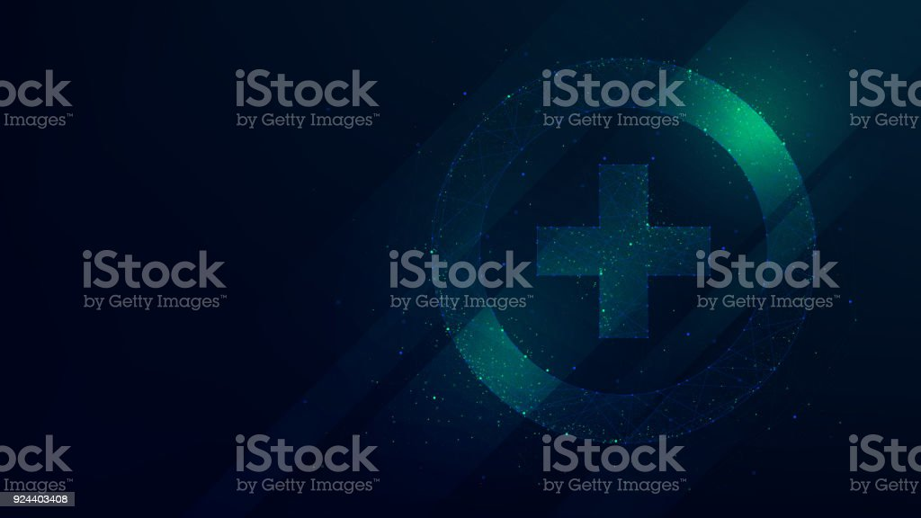 Hi-tech background with pharmacy icon, innovative technologies in medicine vector art illustration
